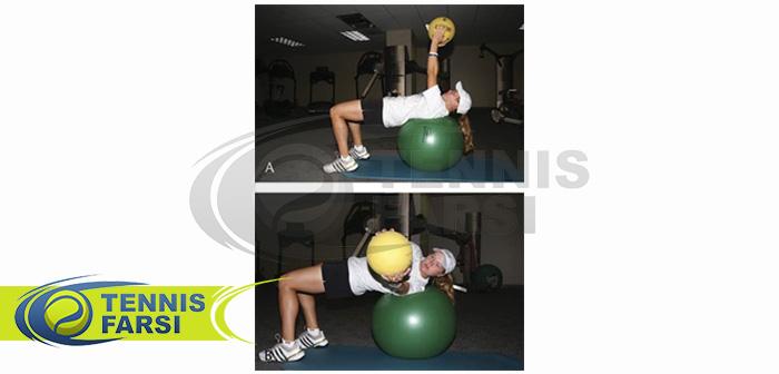 - تمرین تاب دادن توپ بالای سر روی توپ