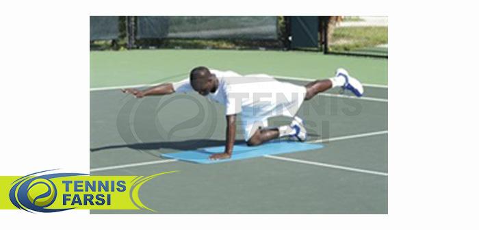 - تمرین یک دست و یک پا بالا برای تثبیت میان تنه